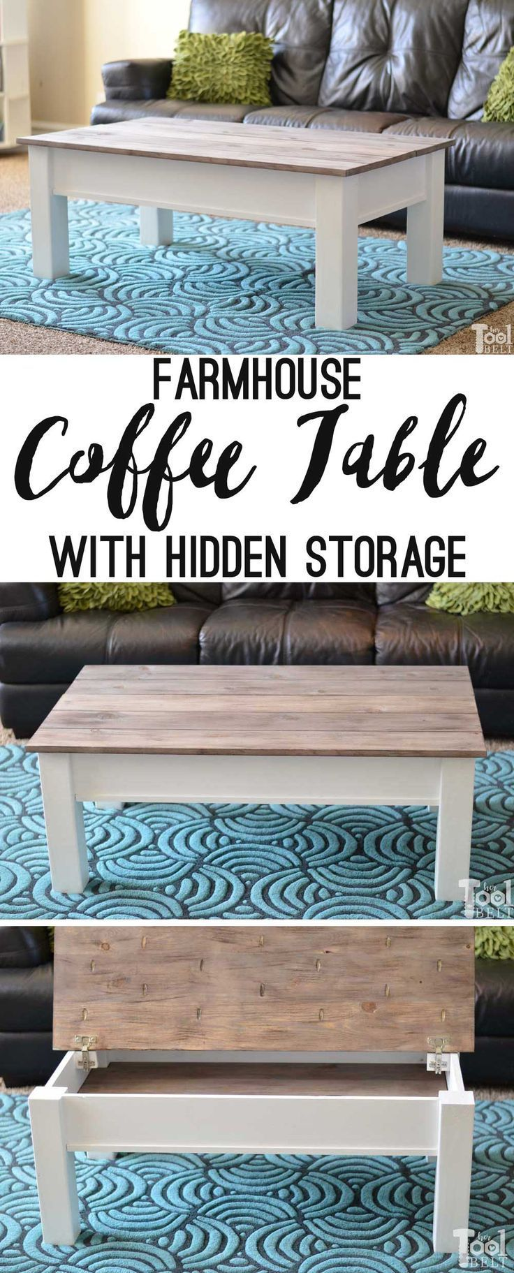 Simple #Farmhouse #Style #Coffee #Table #with #weather