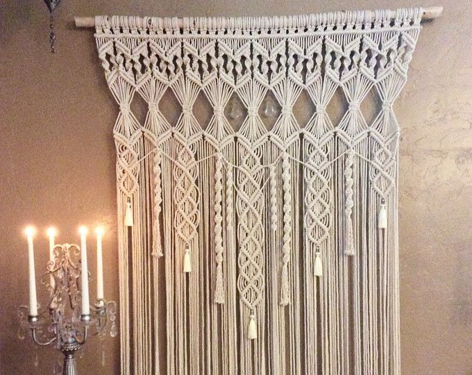 This large macrame wall hanging has been made from 3mm natural white cotton ...