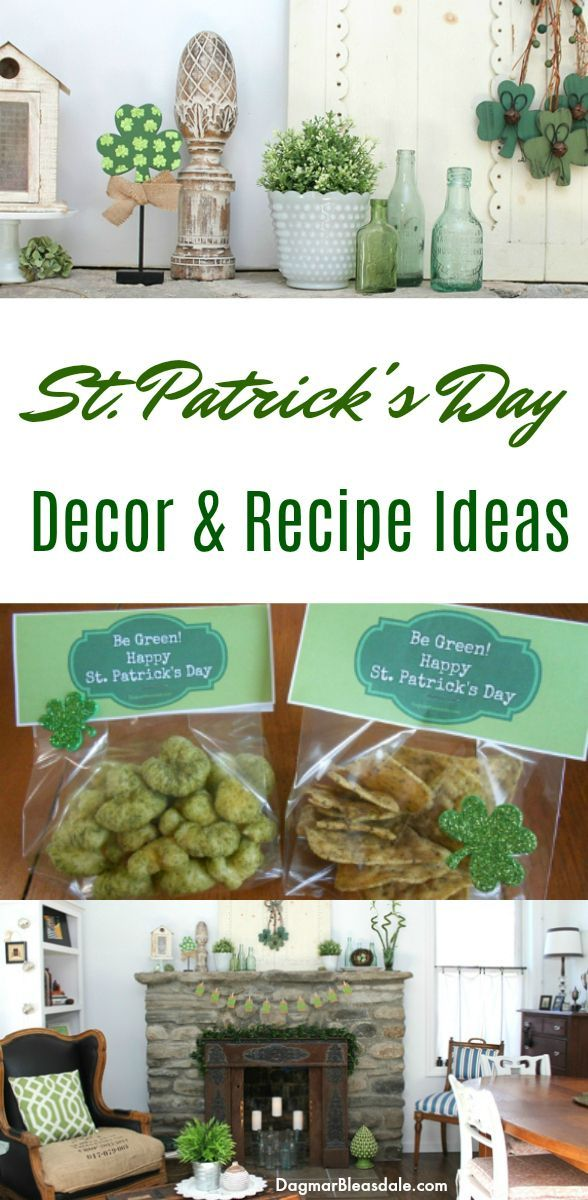 St. Patrick's Day decor and recipe ideas! #stpatricksday #stpattysday #homedecor...