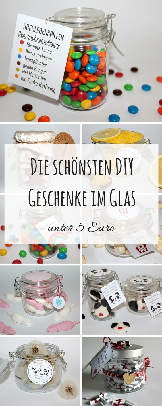 DIY the most beautiful DIY gifts in glass under 5 euros + instructions: DIY, crafts, ...