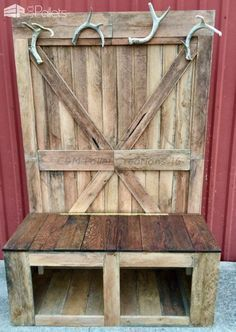 #shelves #benches #hangers #rustic #pallet #chairs