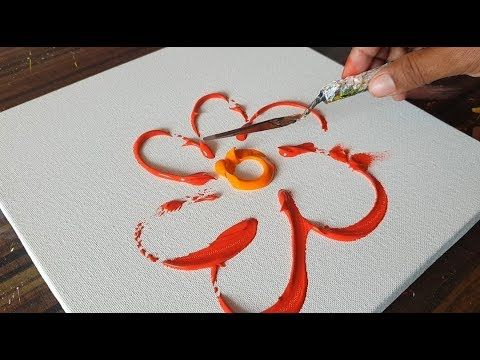 RED / Abstract Painting / Floral/Demonstration in acrylics & Palette knife/Proje...