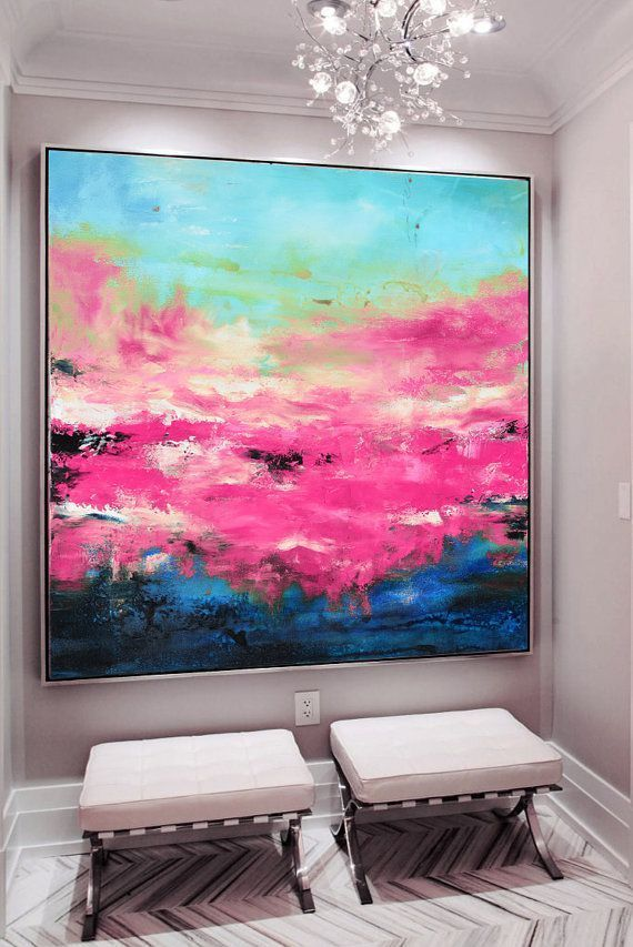 Large Pink Blue Art, Abstract Painting, Pink Giclee Print, Fuchsia Blue, ......