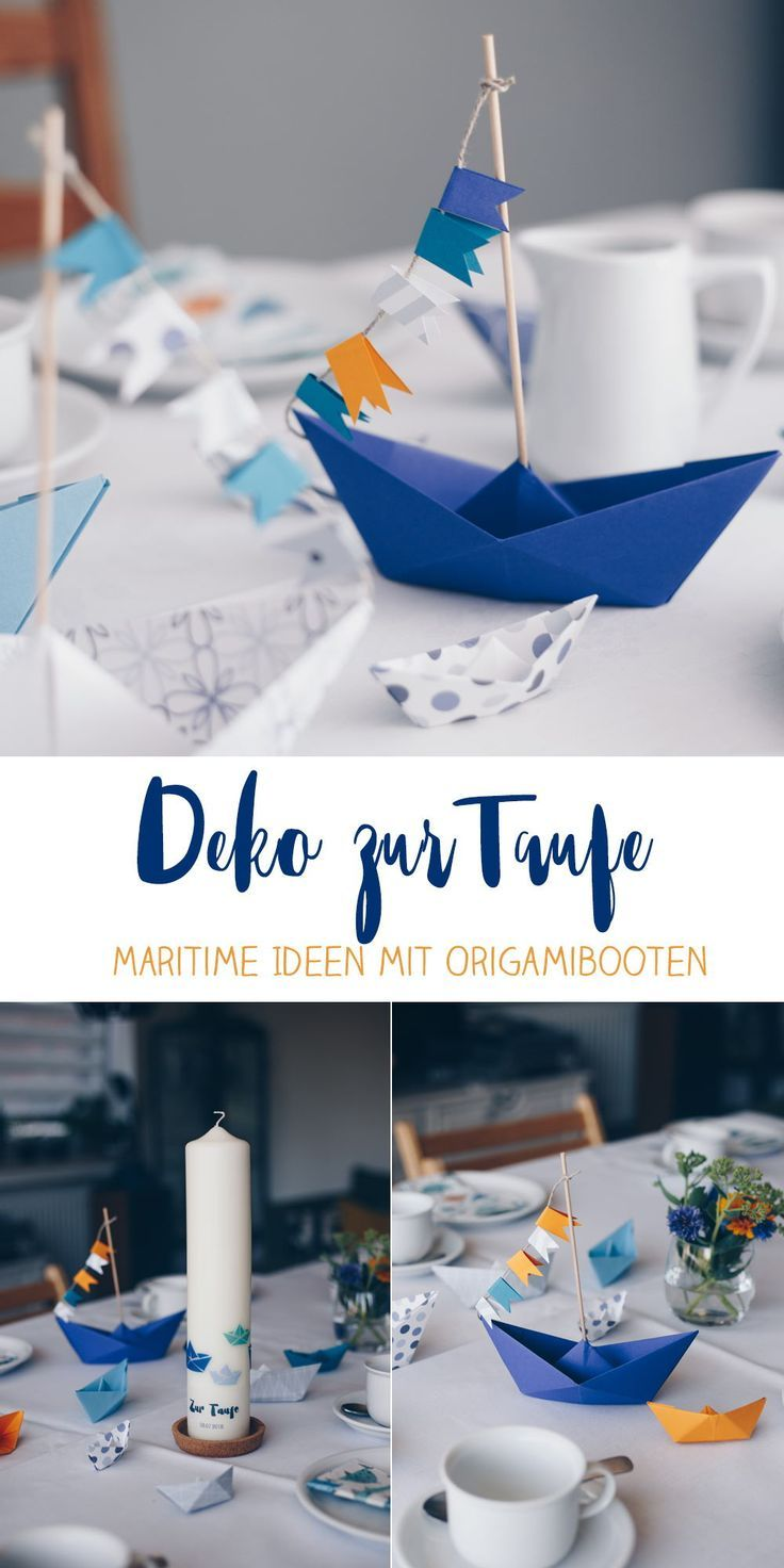 DIY table decoration for baptism with boats - Origami boats with flags themselves - S ...