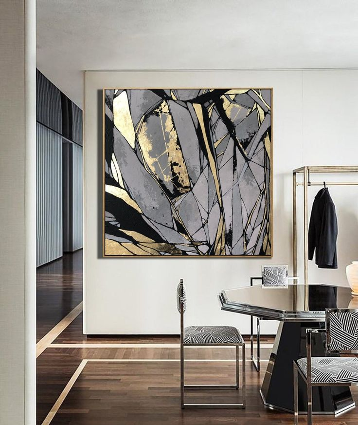 Large Abstract Painting On Canvas Gray Painting Golden Leaf   Etsy