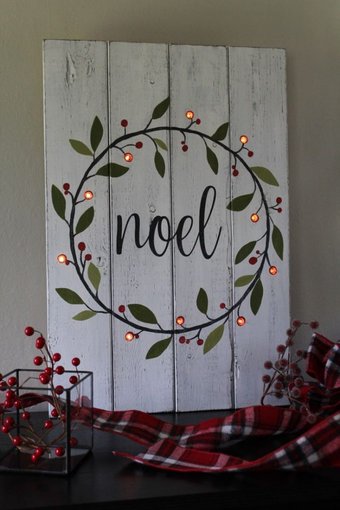 Noel Sign Lighted Christmas Sign Hand Painted Wood Sign Lighted Christmas Wreath...