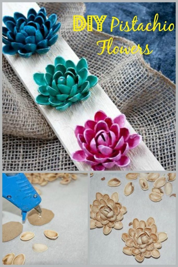 Don't toss out your pistachio shells ~ make beautiful flowers with them.