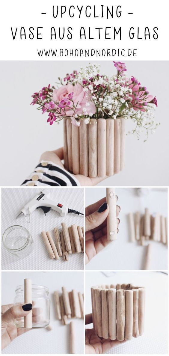 Make a DIY wooden vase yourself. Upcycling. Tinker decoration. Simple and creative