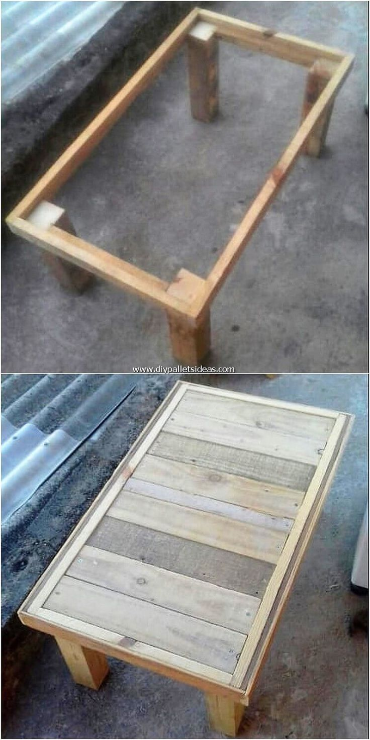 Here comes a cheap idea of ​​a wooden pallet table, usually with ...