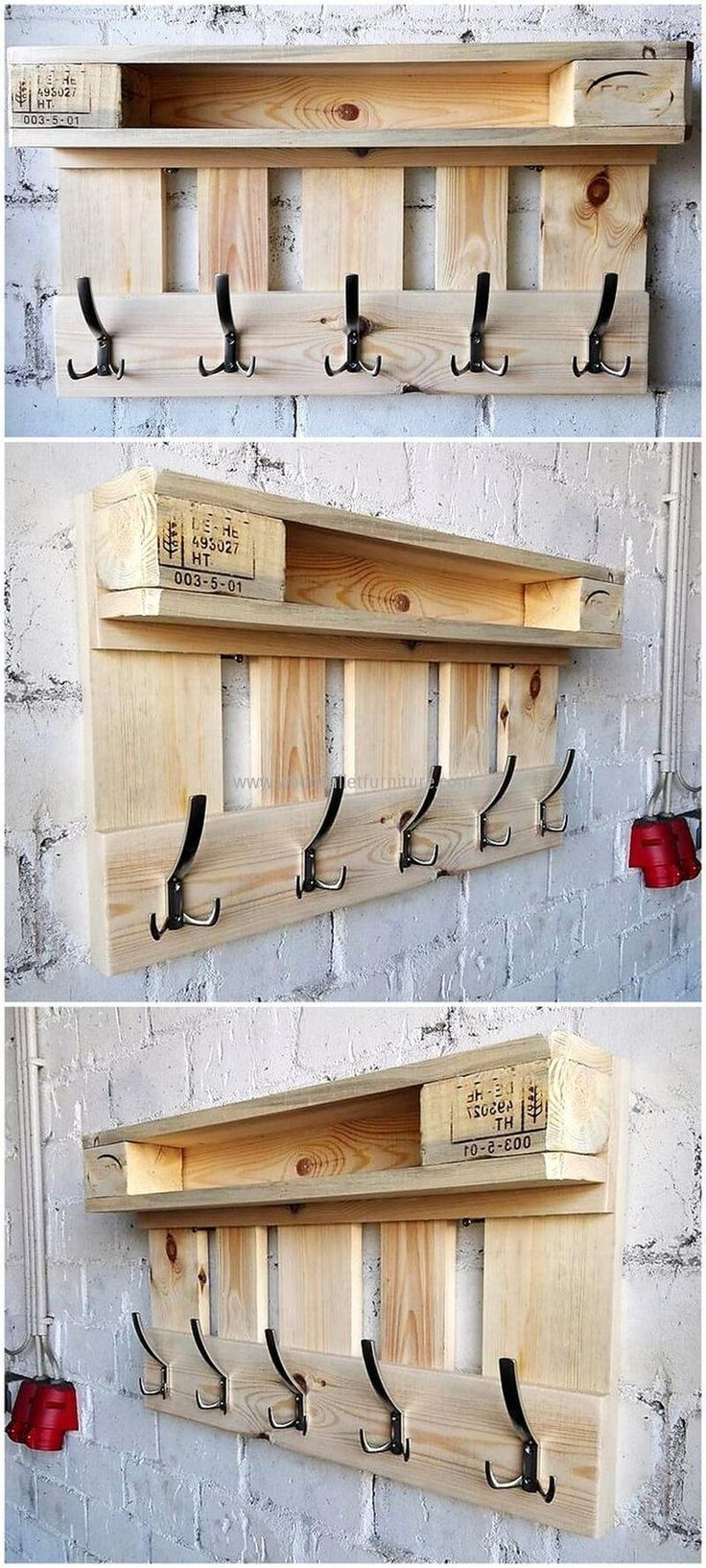 repurposed pallet hanger idea. #diyprojects #diyideas #diyinspiration #diycrafts...