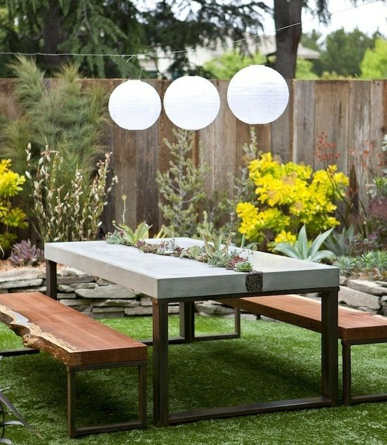 Garden table concrete metal build yourself