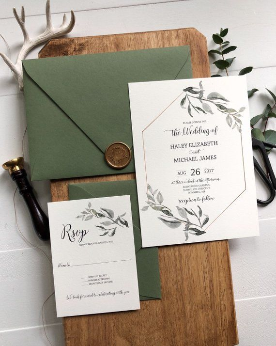 These handmade Botanical greenery wedding invitations are the perfect for your s...