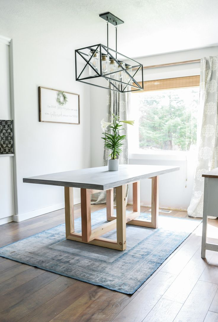 How To Make a DIY Concrete and Wood Dining Table | Jen Woodhouse #concrete #wood...