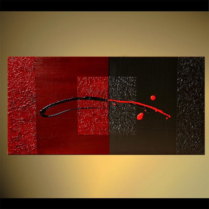 Black Red Abstract Painting Original Contemporary Acrylic   Etsy