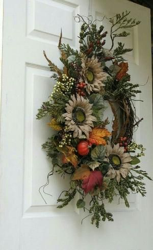 Fall wreath with burlap sunflowers by shelley