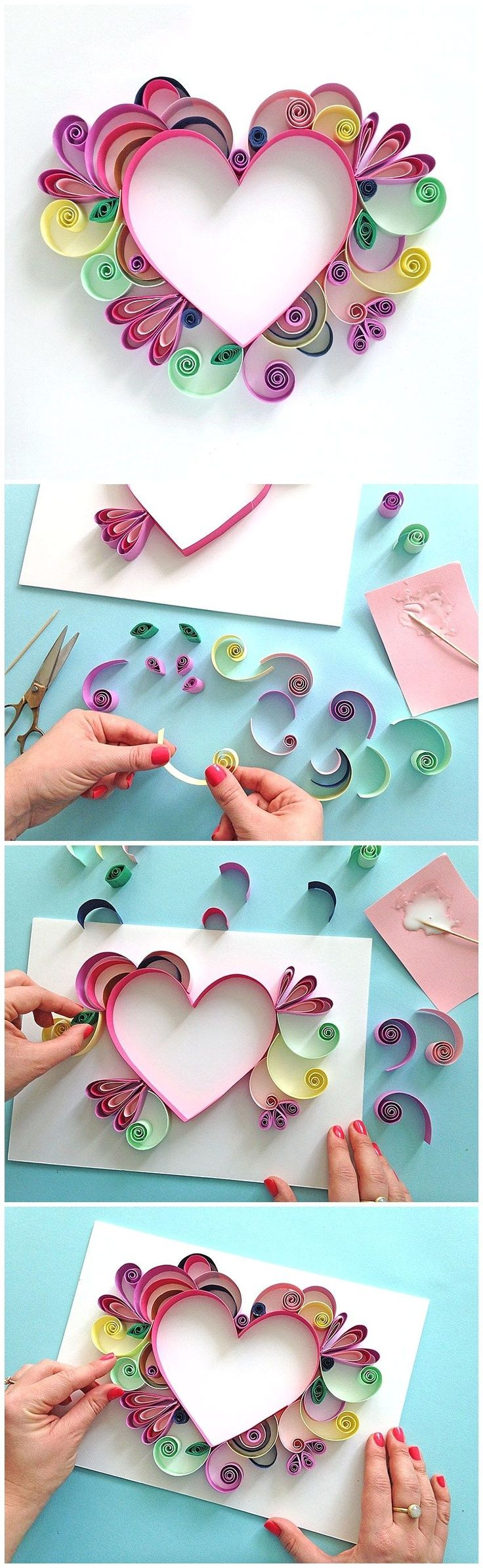 Learn How to Quill a darling Heart Shaped Mother's Day Paper Craft Gift Idea...