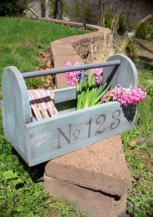 diy distressed blue wooden caddy, crafts, diy, how to, woodworking projects
