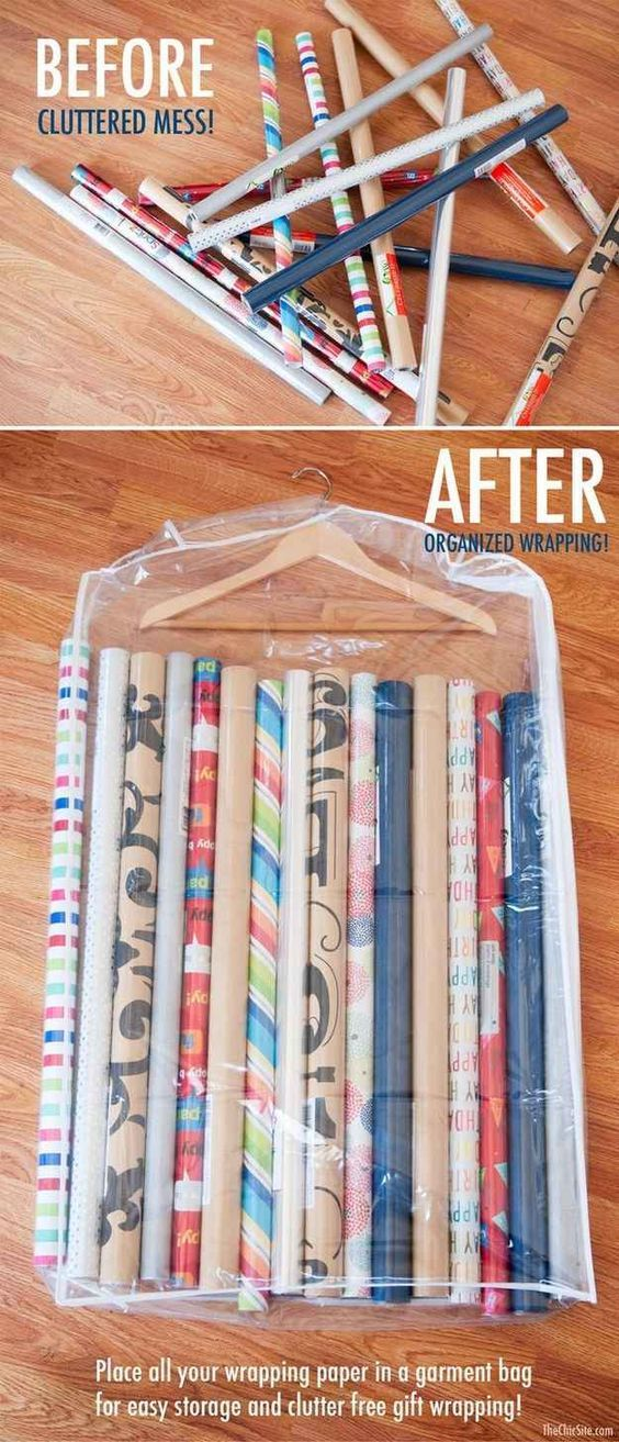 Gift wrap storage hack in garment bags - Awesome DIY Craft Room Organization Ide...