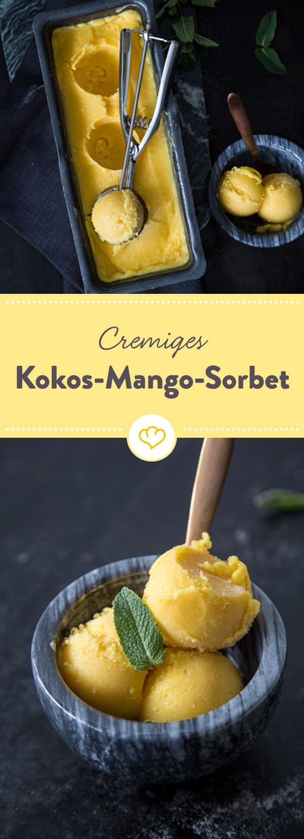 Mango, coconut, maple syrup and a splash of lemon make it in the ice mash ...