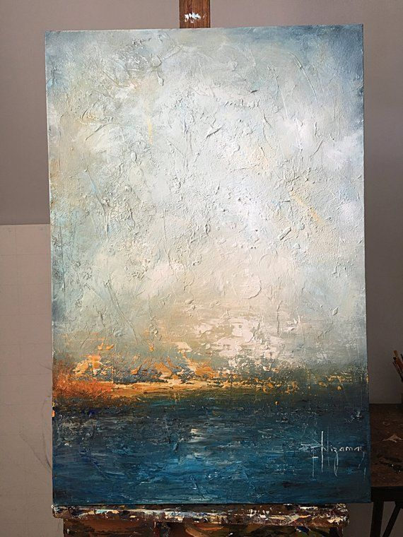 Blue original painting abstract marine art Original Art | Etsy # ...