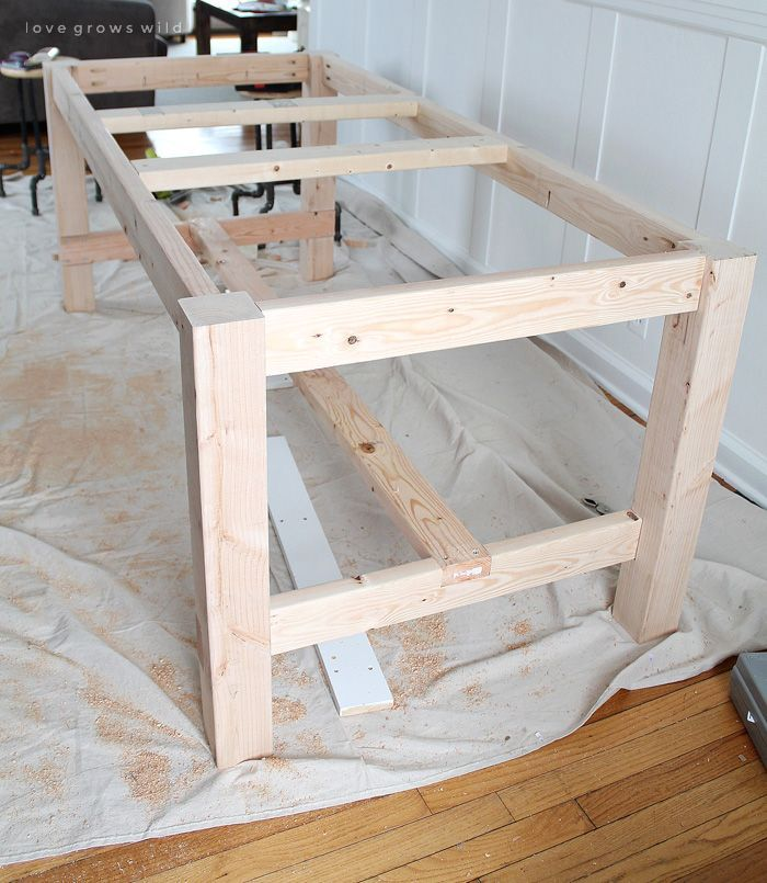 DIY Farmhouse Table DIY Farmhouse Table - This large farmhouse table seats 8+ an...