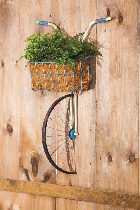 Front Basket Metal Bicycle and Planter Wall Decor #decor #metal bicycle #pflan ...