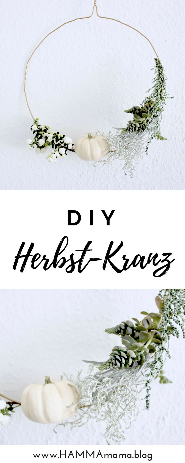 DIY autumn decoration for the living room or the front door outside with material from th ...