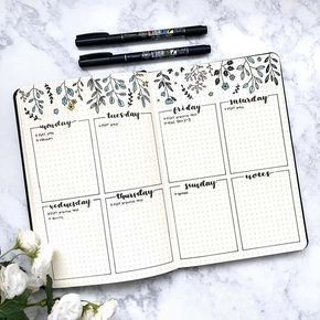 Pretty Weekly Schedule for Bullet Journal  #bujo #bulletjournal #bulletjournalin...