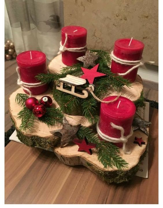 50+ Holiday Red Candlestick Art Design Ideas; Table Decorations; Christmas Candl...
