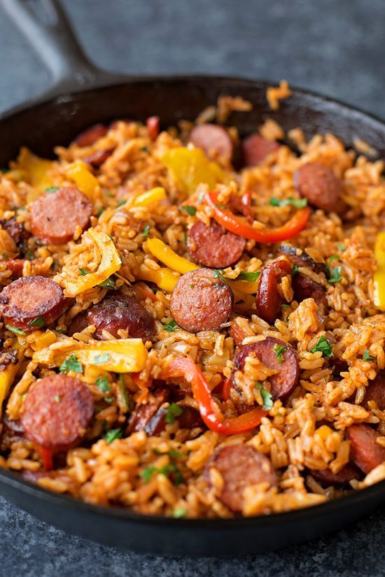 Sausage, Pepper and Rice Skillet Creamy Parmesan One Pot Chicken and Rice - This...