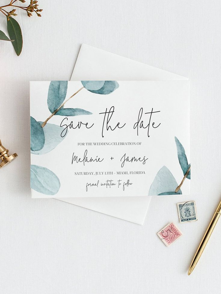 Eucalyptus Save the Date Template invitation, Save The Date Greenery, Printable ...