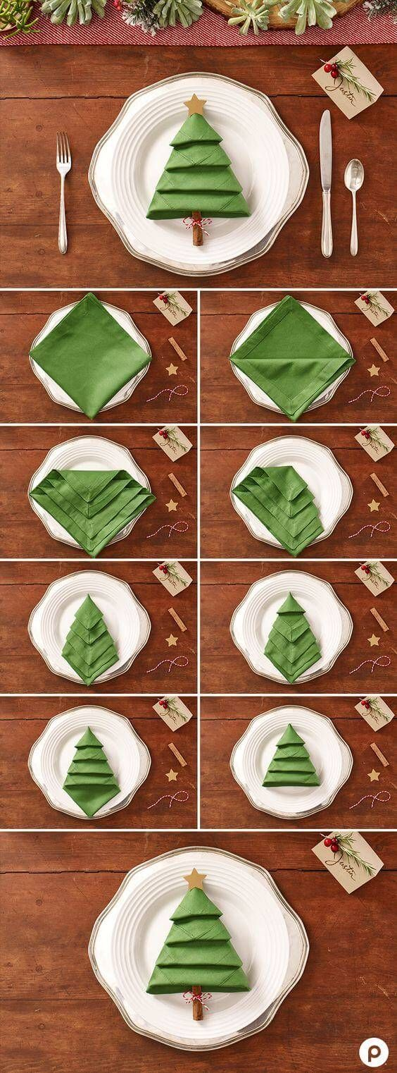 DIY table decoration ideas for Christmas, napkins origami Christmas tree, folding ...
