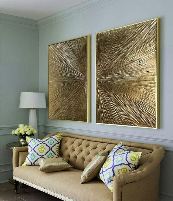 Gold leaf abstract painting abstract gold painting diptych
