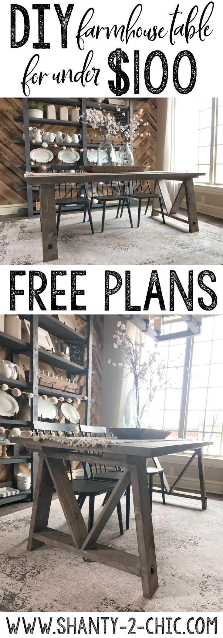 Build this DIY Fancy V Dining Table for under $100 and only 14 boards! Get the f... -  #board...