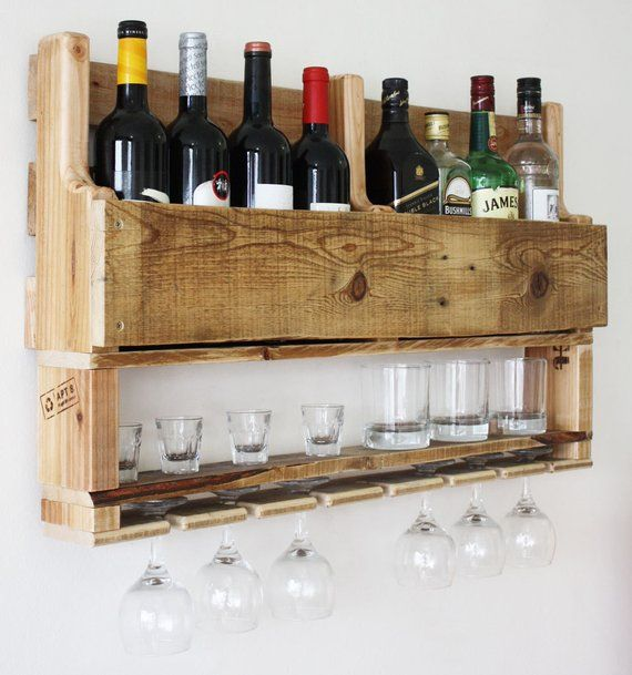 Wine Rack Wall Mounted Alcohol Bar Wall Decor Rustic | Etsy