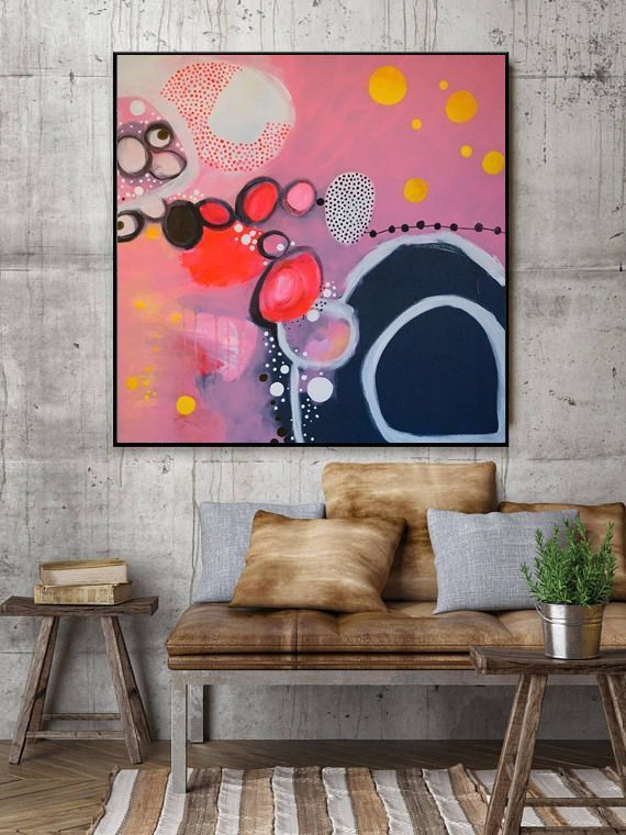 Feminine good mood picture. Colorful acrylic painting rages in circles on 90x ...