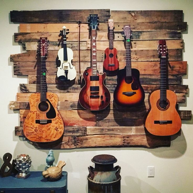 Guitar and instrument hanger made from up-cycled pallets. #GuitarRack