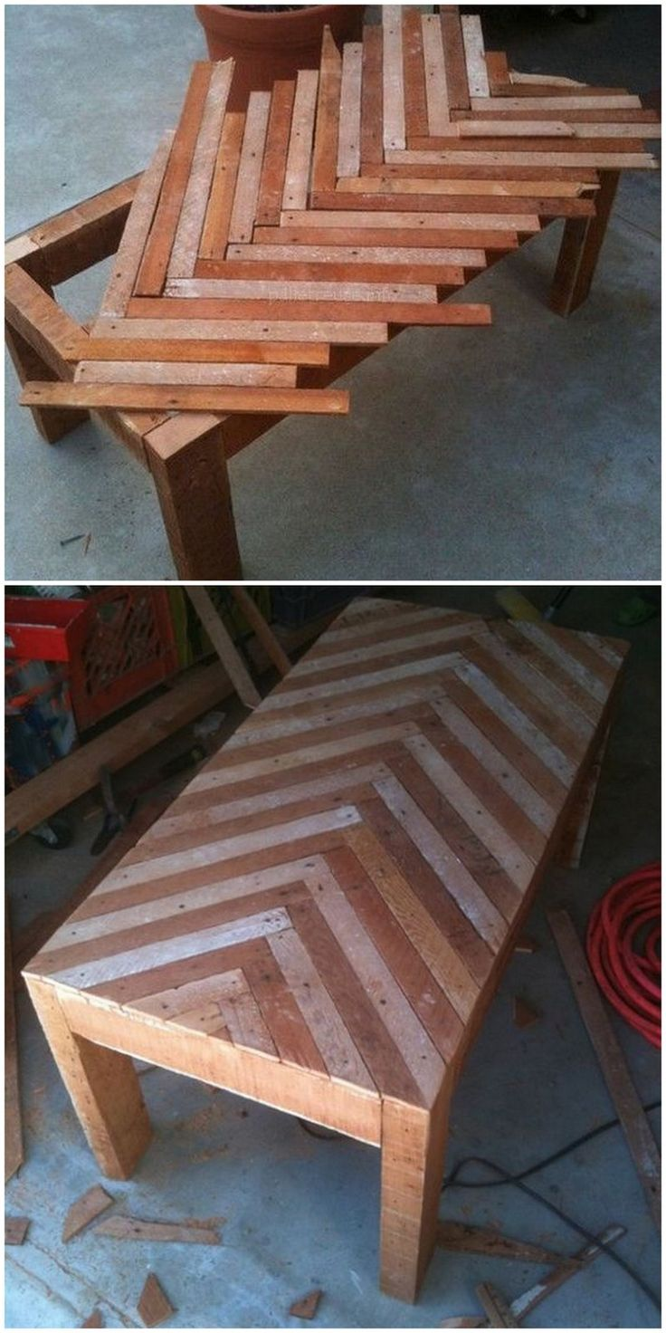 Pallet wood table construction.