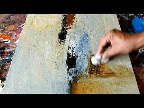Abstract painting / Using Cloth and Palette knife / Acrylics / Demonstration - Y...