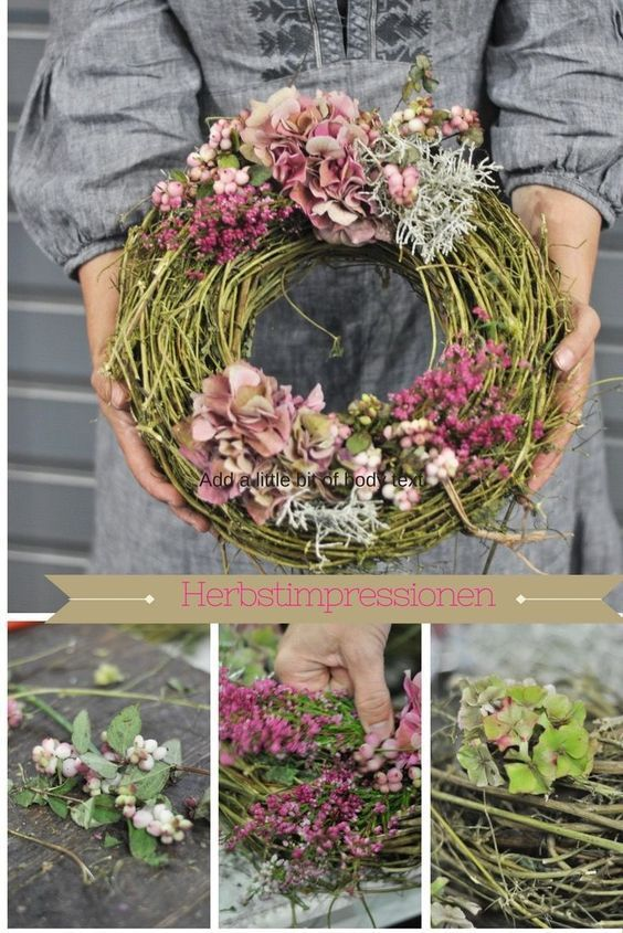 Autumn wreaths of hops and hydrangeas DIY - Crafting - #of #smaking #DIY #He ...