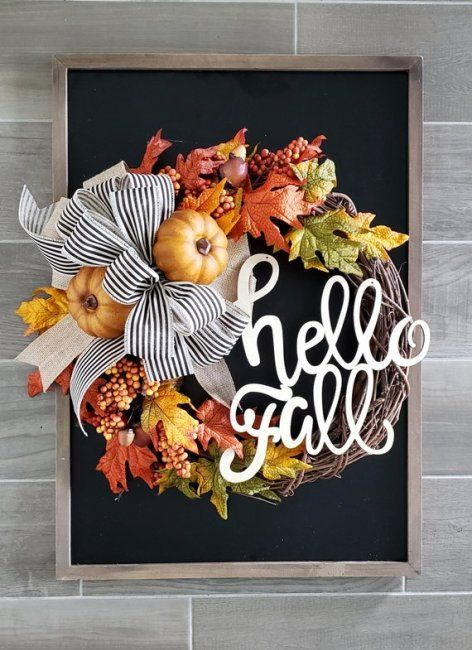 This beautiful handcrafted Hello Fall wreath will be the perfect entrance wreath...