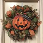 Halloween Wreath, Fall Wreath, Pumpkin Wreath Its ready to hang on your front. W...