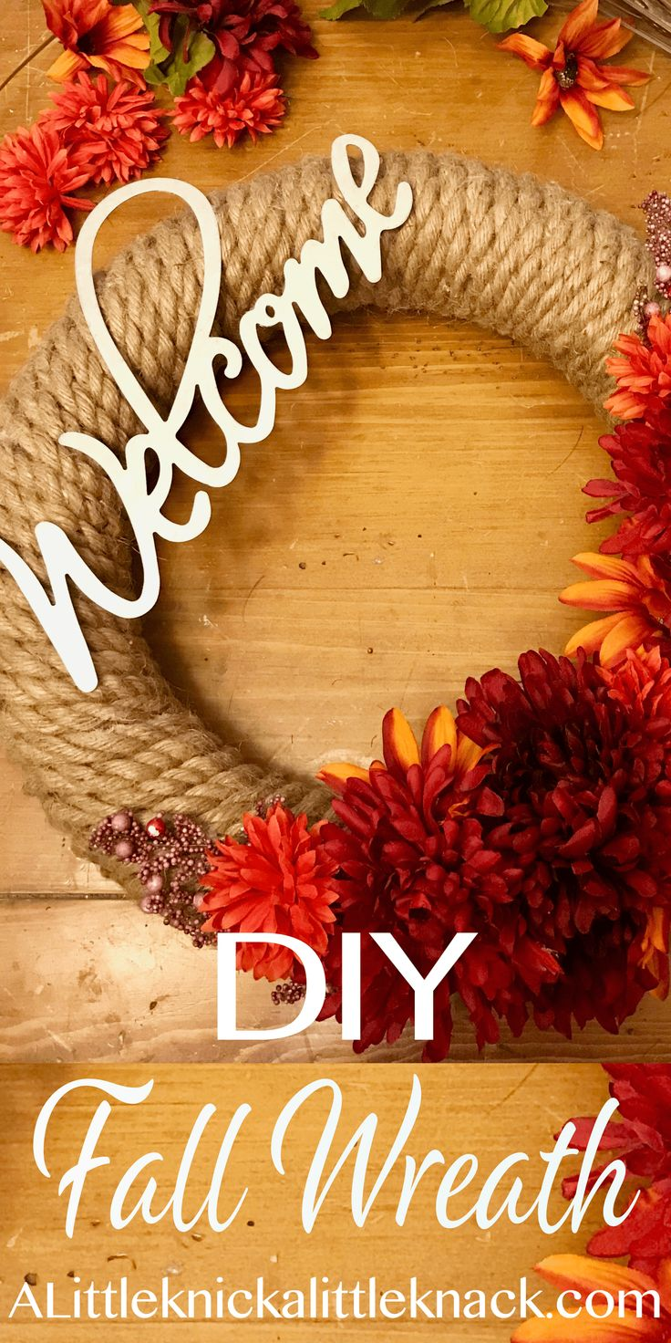 Super easy and stunning Jute rope and metal DIY Fall Floral wreath.