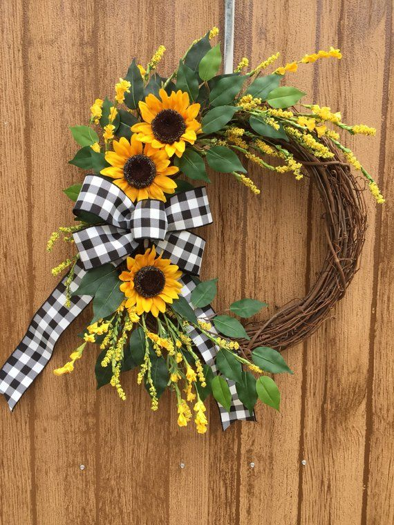 Sunflower Wreath, Fall Wreath, Farmhouse Wreath, Year Round Wreath, Summer Wreat...
