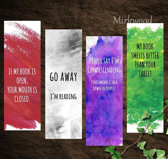 This listing is for a set of 4 printable sarcastic / snarky watercolor bookmarks...
