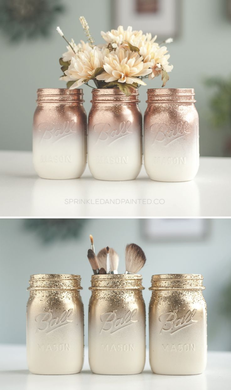 3 Rose Gold and Ivory Ombre Glitter Mason Jar Centerpiece Organization Glass ...