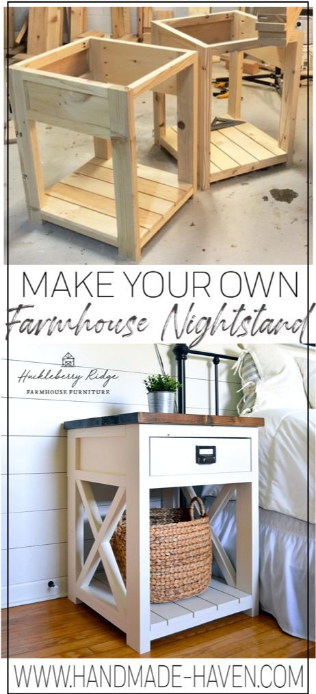 Farmhouse Nightstand/Side Table #WoodWorking