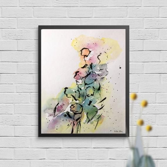 Watercolor abstract, dimensions: 30 x 40 cm, watercolor and ink on 300g / qm paper v ...