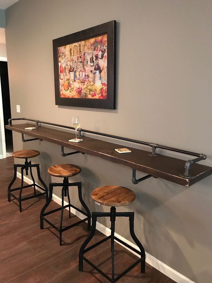 Industrial Black Pipe Drink Rail With Shelf Support Brackets