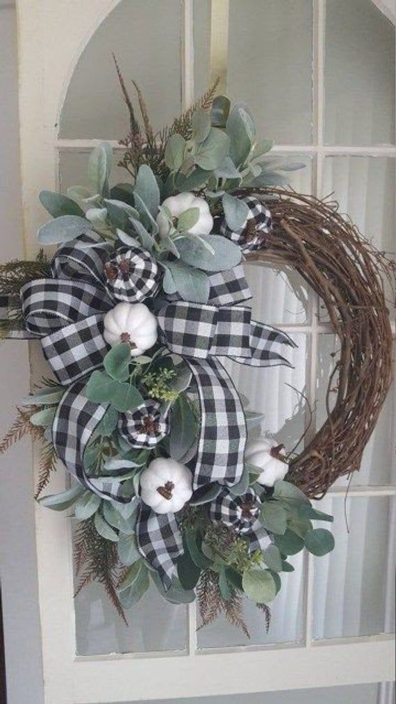 Fall farmhouse wreath farmhouse wreath buffalo check wreath | Etsy